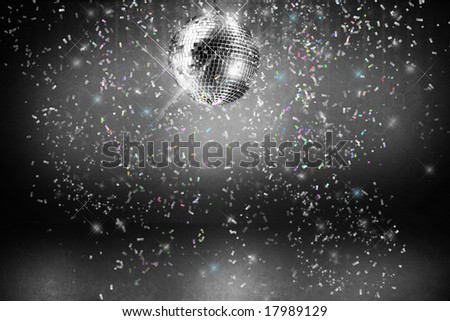 Disco ball with lights and confetti party background/ BW
