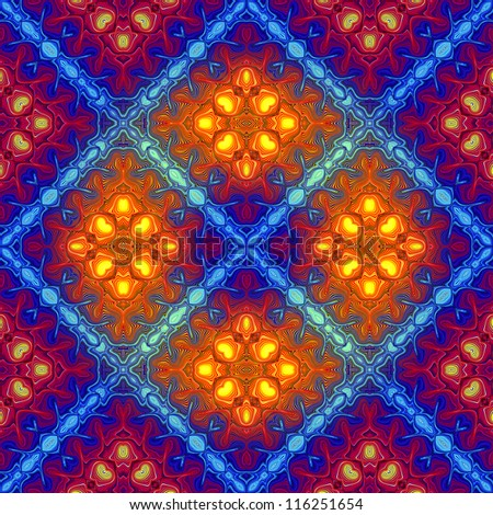 Disco fire: Optic illusion illustration with geometric pattern; psychedelic design in full color range, seamless
