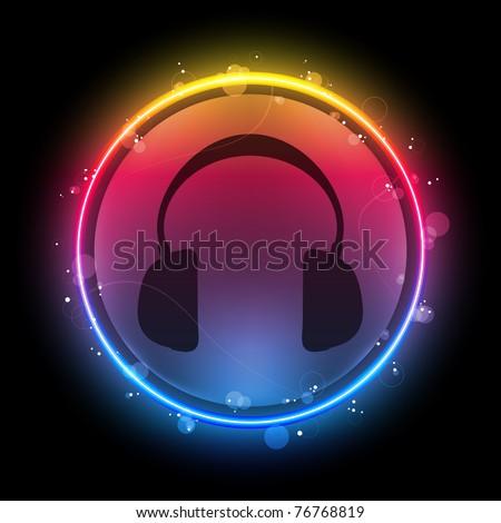 Disco Headphones with Neon Rainbow Circle