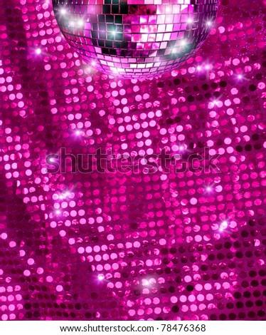 Disco mirro ball  reflecting light on pink glitter background