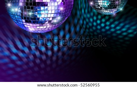 Disco mirror ball reflecting light spots on ceiling