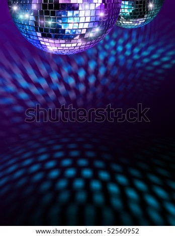 Disco mirror balls light reflections on ceiling and floor