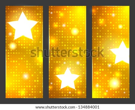 Disco party. A set of three gold banners. Raster version