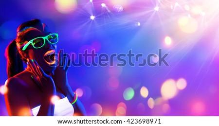 Disco Woman - Neon Makeup - Funny Scream #423698971