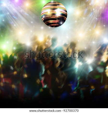 Discotheque with disco ball and people