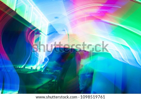 Discotheque  with red, blue and green LED lights and DJs