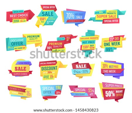 Discount and clearance sale geometrical tapes banner set. raster special offer labels or tags for shop holiday selluot event for week or only one day.