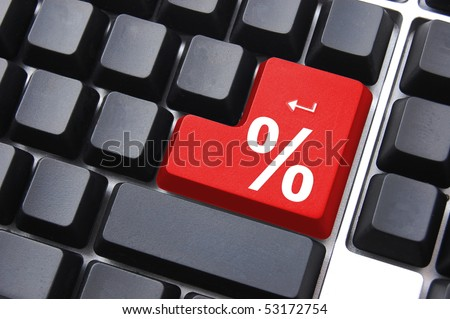 discount concept with percent sign on computer key