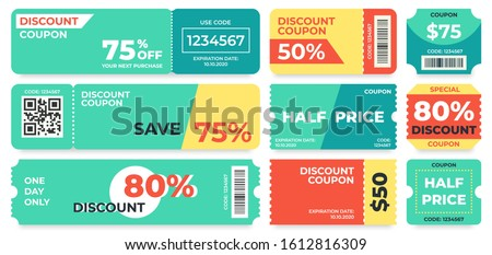 Discount coupon. Half price offer, promo code gift voucher and coupons template. Premium special price offers sale coupon or best promo retail pricing vouchers. Isolated  icons set