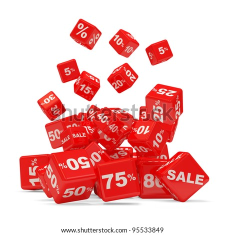 Discount Cube Falling on white background (Sale Concept)