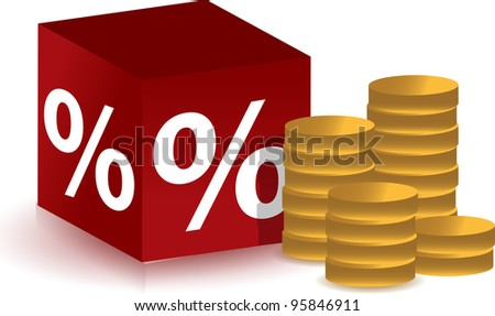 discount cube with coins illustration design over white