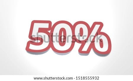 Discount of 50 percent percent cut from paper, shop sale of goods and services