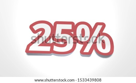Discount of 25 percent percent cut from paper, shop sale of goods and services, 3d rendering