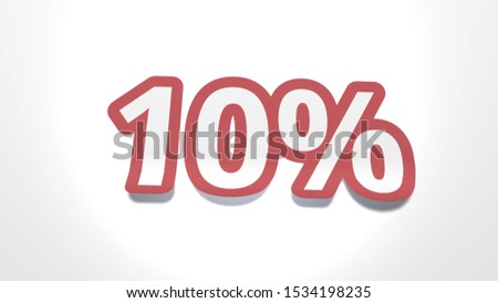 Discount of 10 percent percent cut from paper, shop sale of goods and services, 3d rendering