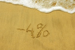 Discount -4% on holidays written in the sand on the beach. Four percent off travel discount.