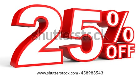 Discount 25 percent off. 3D illustration on white background.