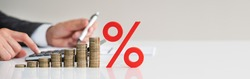 Discount Percent Sign And Money Accounting Concept