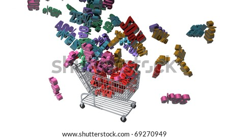Discount Percentages falling from the sky into a shopping cart as a concept of the big annual sale. - stock photo