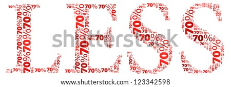 Discount sale text cloud with LESS shape