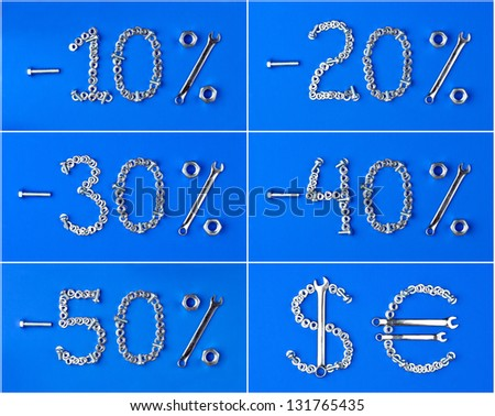 discount set of nuts and bolts on a blue background