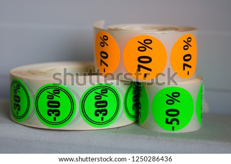 Discount sticker tapes. Stickers with discounts.