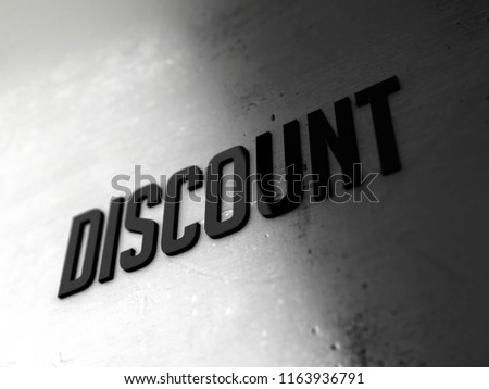 Discount text word on metallic shiny background 3D rendered with depth of field