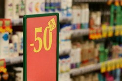 Discounts -50% in the store of household chemicals