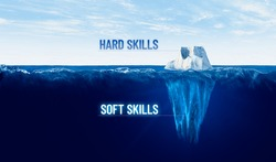Discover your hidden soft skills concept. Motivational concept for leaderships with iceberg – bigger part representing undiscovered soft skills is hidden under water.