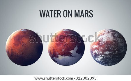 Stock Photo Discovered liquid water on the planet mars, great science discovery. Elements of this image furnished by NASA