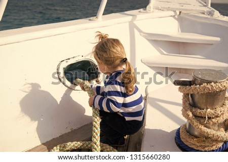 Discovery concept. Little child enjoy sea travel on ship, discovery. New discovery. Launch out on a voyage of discovery. Life is better at sea.