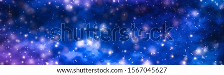 Discovery in astronomy, cosmic abstract and future technology concept - Stars, planet and galaxy in cosmos universe, space and time travel science background