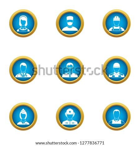 Discrete icons set. Flat set of 9 discrete icons for web isolated on white background