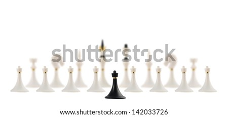 Discussion and negotiation concept as black chess pawn figure opposite to the white ones composition  isolated over white background