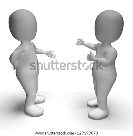 Discussion Between Two 3d Characters Shows Communication