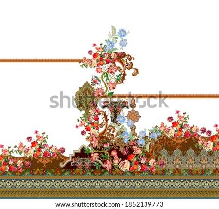 diseño textil digital con borde geométrico sin soldadura y hojas florales botánicas Foto stock ©