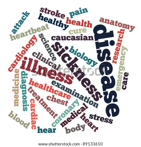 disease info-text graphics and arrangement concept on white background (word clouds)