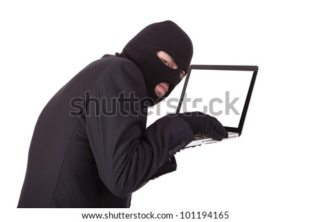 Disguised computer hacker in suit and tie