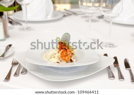 Dish of fish, oysters, shrimp and caviar