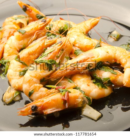 dish of fried prawns with herbs and spices