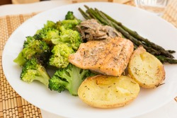 dish of fried river trout fillet with garnish of broccoli, asparagus sprouts, baked potatoes and mushroom sauce