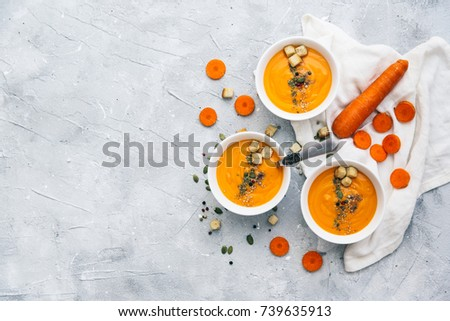 Dish of homemade Carrot and coriander soup #739635913