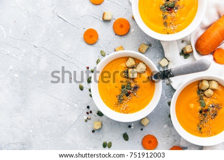 Dish of homemade Carrot and coriander soup #751912003