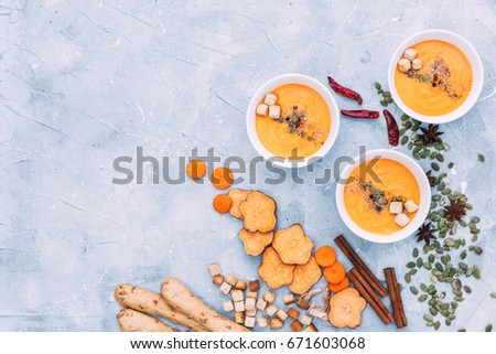 Dish of homemade Carrot and sweet potato soup #671603068