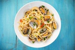 Dish of Spaghetti with clams, Mediterranean Food