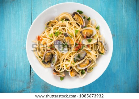 Dish of Spaghetti with clams, Mediterranean Food