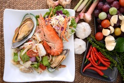 Dish of Thai seafood salad (Yum) menu in restaurant, Thailand