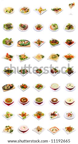 dish selection isolated on white background