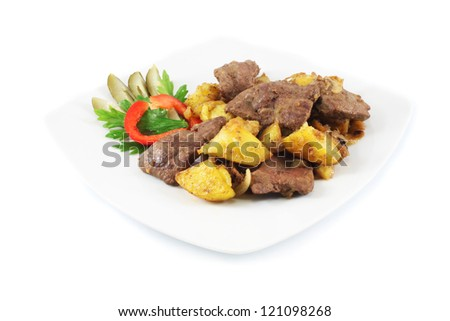 Dish with fried potatoes and liver