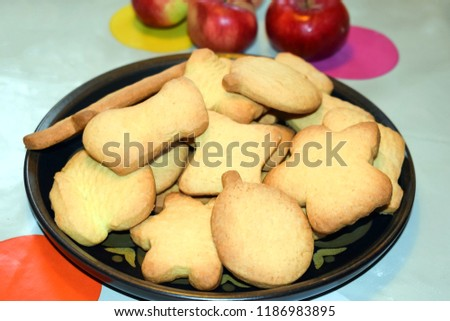 Dish with homemade cookies. Homemade baking. Selective focus. #1186983895