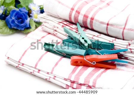 Dishes cloth with clothespin